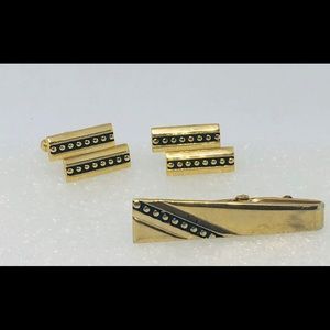 Goldtone cufflink and tie clip set Vintage MCM